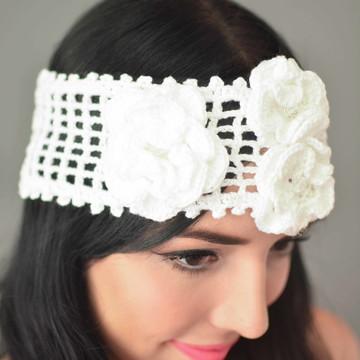 Headband em crochê com flores - Noiva