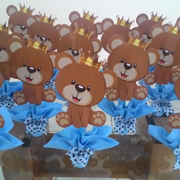 centro de mesa urso principe urso marrom e azul