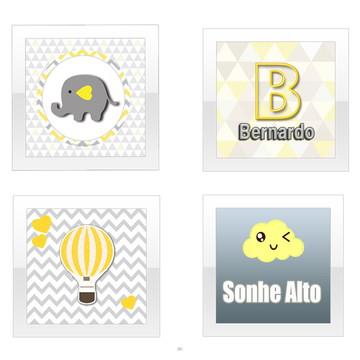 Quadrinhos Elefante Cinza e Amarelo - mdf