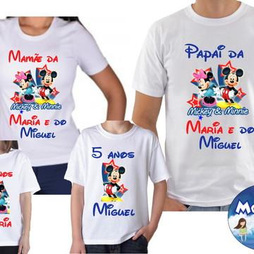 Camisetas Aniversario Mickey Minnei Irmãos c/4