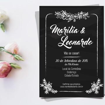 Convite Casamento Digital - Chalkboard