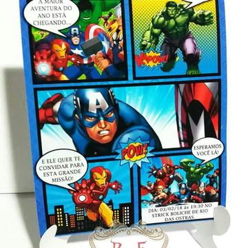Convite de aniversario Vingadores Gibi quadrinhos