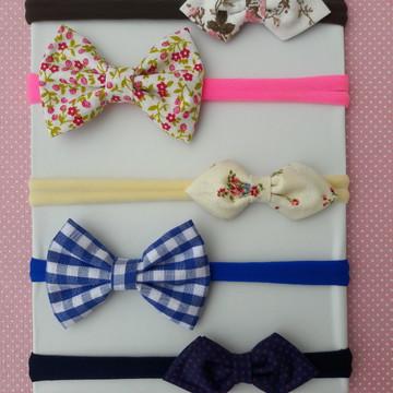 Faixa cabelo bebe recem nascido em tecido Kit 5 Laços