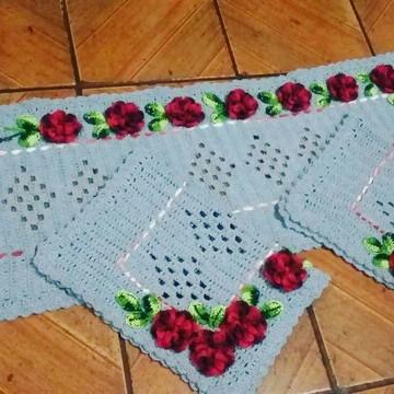 Tapete de Cozinha de crochê 3 peças