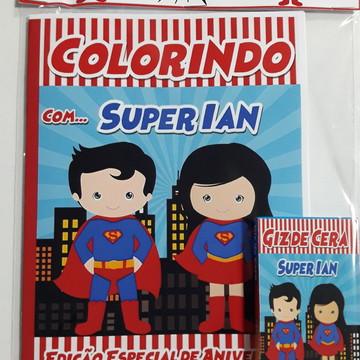 Kit de colorir super man e mulher maravilha