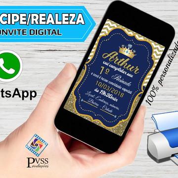 Convite Virtual Digital Realeza Coroa Príncipe