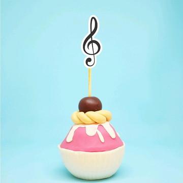 Topper para doces - notas musicais clave de sol