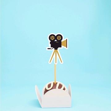 Topper para doces - cinema Hollywood câmera