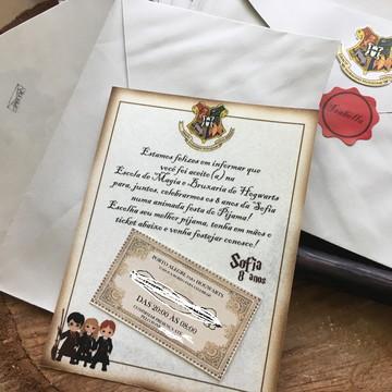Convite Harry Potter carta de Hogwarts