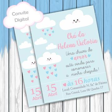 Arte digital para convite Chá de Bebê (Chuva de amor)