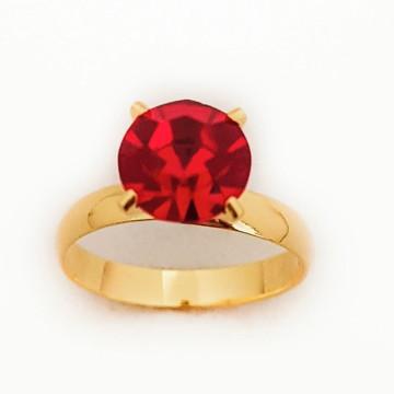 Anel Feminino Solitário Pedra Vermelha Folheado Ouro 18k.