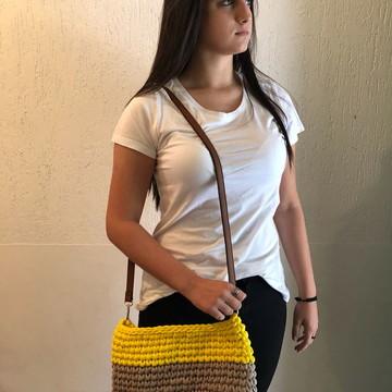 Bolsa de Crochê Trapilho - com alça de couro