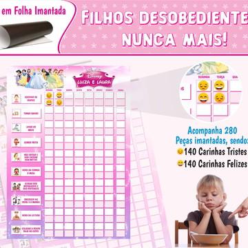 Quadro de Incentivo Infantil Para Duas Crianças Princesas