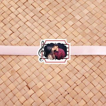 Fita com tag com foto - notas musicais clave de sol