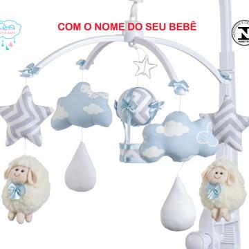 Móbile para berço bebê menino ovelha azul