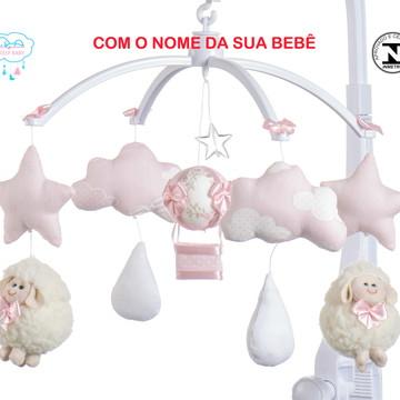 Móbile para berço bebê menina ovelha rosa