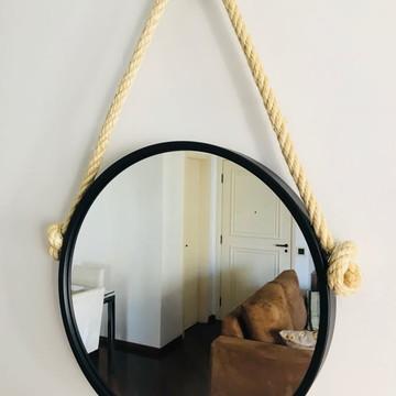 Espelho Adnet Com Alça De Sisal De 50 cm De Diâmetro