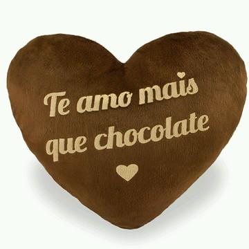 Coração de Pelúcia Amo mais que Chocolate