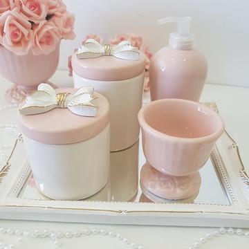 Kit Higiene Bebe Porcelana Laço