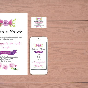 Identidade Visual Casamento Aquarela (Digital) 3 Artes