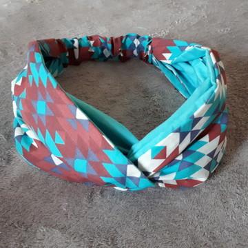 Turbante Headband Faixa Cabelo Boho Vintage Color Turquesa