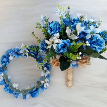 Kit ensaio tons azul ,rosas e mini lírios.