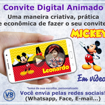 Convite Animado Digital - Mickey Mouse