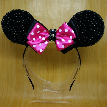 Tiara orelha Minnie rosa pink pérolas e strass