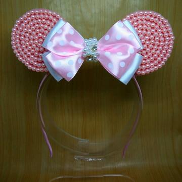 Tiara orelha Minnie rosa pérolas e strass
