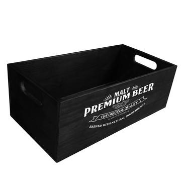 Caixote para Decoração da Casa - Preto (Estampa Beer)