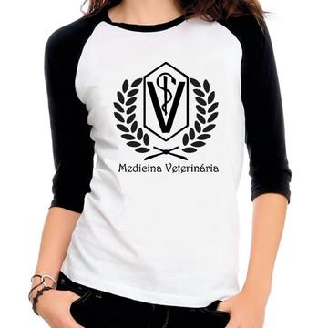Camiseta Raglan 3/4 Medicina Veterinaria Curso