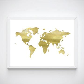 Poster com moldura Mapa Dourado