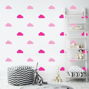 Adesivo nuvens rosa e pink