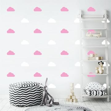 Adesivo nuvens rosa e branco