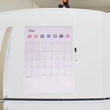 Lousa Magnética Mensal Colorido + Caneta Magnética