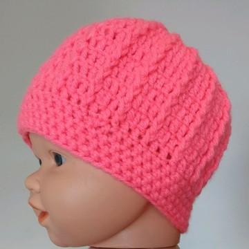 Gorro Infantil Simples Feminino (1 a 2 anos) Crochê