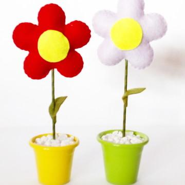 Vaso com Flor de Feltro