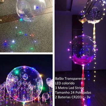 """Balão Transparente Luz Led Festas Casamentos Formaturas 24"""""""