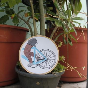 Quadrinho Bordado - Bicicleta Azul