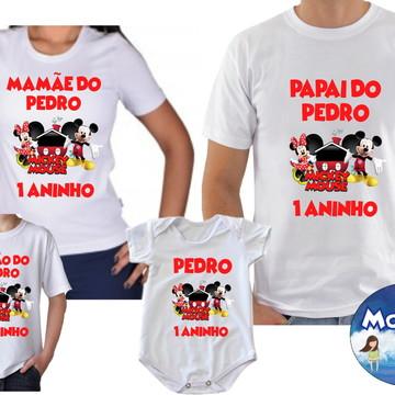 Camisetas Aniversario Mickey Minnei c/4