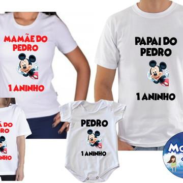 Kit Camiseta Aniversario Mickey Mouse c/4
