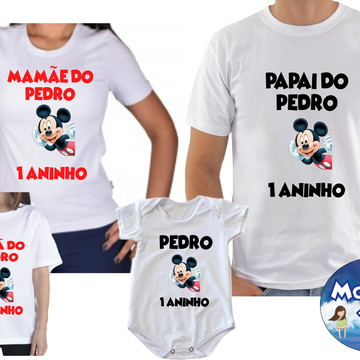 Camiseta Aniversario Mickey Mouse c/4