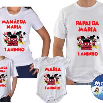 Kit Camisetas Aniversario Mickey Minnei c/4