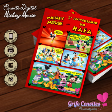 Convite Digital Mickey Mouse - Arte Digital para Imprimir