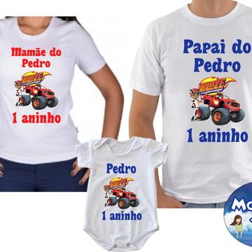 Kit Camiseta Personalizada blaze monster machine com 3