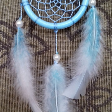 Filtro dos sonhos azul aro de 8 cm, comprimento 25 cm