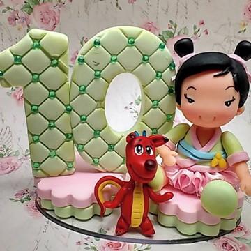 Topo de Bolo Princesinha Mulan