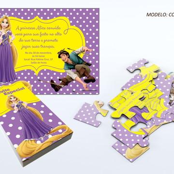 Convite quebra cabeça - Rapunzel