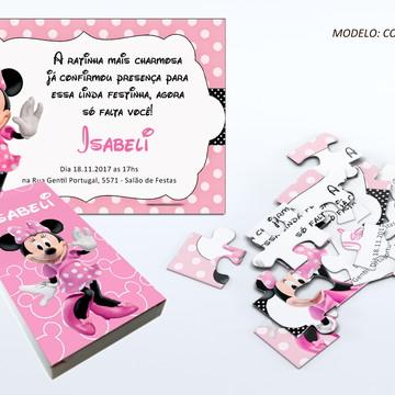 Convite quebra cabeça - Minnie Rosa