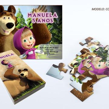 Convite quebra cabeça - Marsha e o Urso